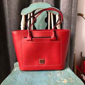 Dooney and Bourke Leather Beacon Slip Tote in Red